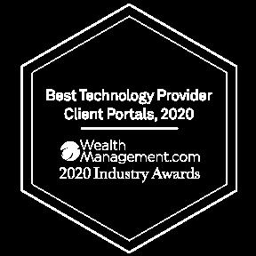 WealthManagement.com 2020 Industry Awards Best Technology Provider - Client Portals (White)